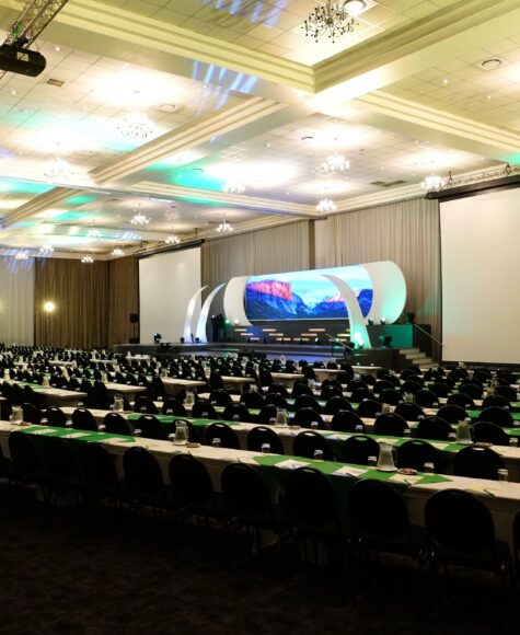 birchwood OR Tambo conference center stage with tables and chairs