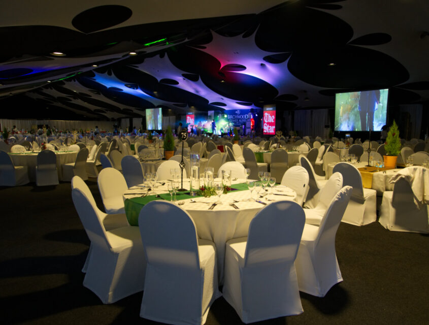 birchwood's terminal room with set tables and projector screens